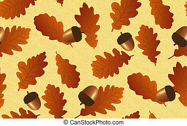 Seamless background with branches of oak
