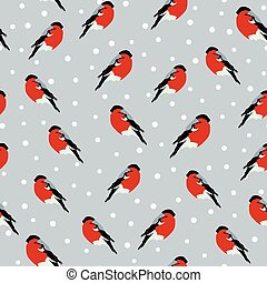 seamless background with bullfinches