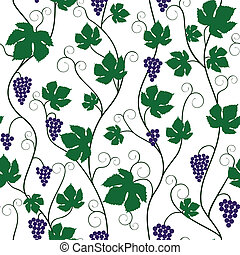 bunch of grapes and vine - Seamless background with bunch of...
