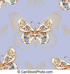 Seamless background with butterfly.