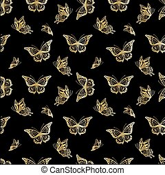 Seamless background with butterflyes - Seamless background...
