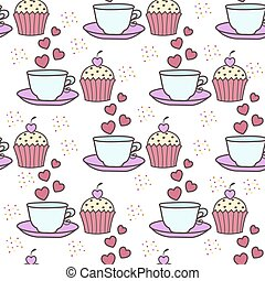 Seamless background with cake