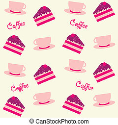 background with cakes and coffee cups