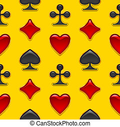Seamless background with card suits buttons - Seamless...