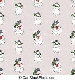 Seamless background with cartoon cheerful christmas snowmen