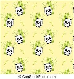 Seamless background with cartoon panda illustration. Panda and bamboo pattern.