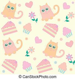 background with cats and cakes