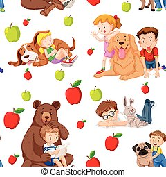 Seamless background with children and pets