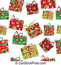 Seamless background with Christmas gift boxes