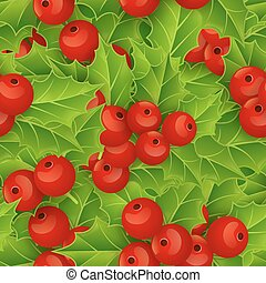 Seamless background with Christmas holly.
