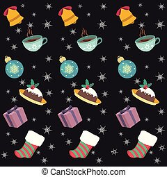 Seamless background with Christmas objects and foods