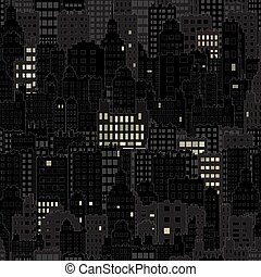 Seamless Background With City Building Night Lights Window, Black and Dark