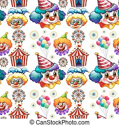 Seamless background  with clowns and circus