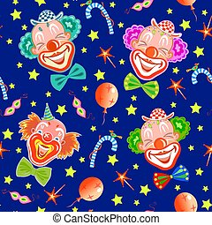 Seamless background with clowns on dark blue.