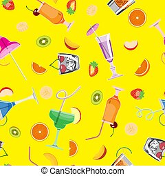 Seamless background with cocktails and drinks on a yellow background. Vector image.