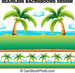 Seamless background with coconut trees