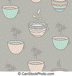 Seamless background with coffee and tea cups