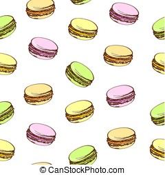 Seamless background with colored macaroons. Cartoon style. Isolated on a white.