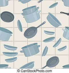 Seamless background with cookware