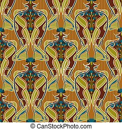 Seamless background with cornflower blue in art nouveau ...