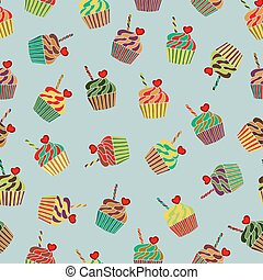 seamless background with cupcakes
