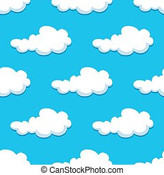Seamless background with cute cartoon clouds
