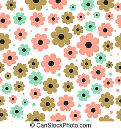 Seamless background with cute flowers in pastel colors.