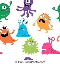 Seamless background with cute monsters