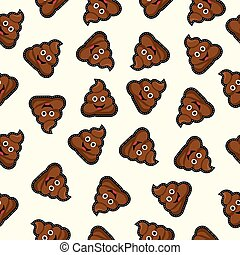 seamless background with cute poo cartoon - Seamless pattern...