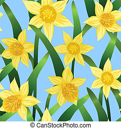 seamless background with daffodils