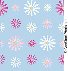 Seamless Background with Daisy Flowers on Blue