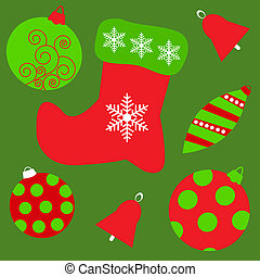 Seamless background with different Christmas toys