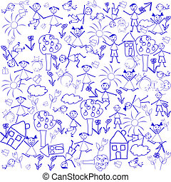 Seamless background with doodle elements