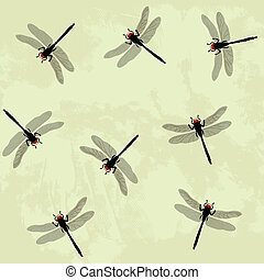 dragonfly - Seamless background with dragonfly
