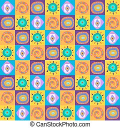 Seamless background with ethnic ornaments in the boxes