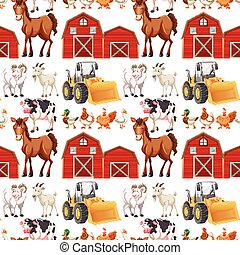Seamless background with farm animals and barns