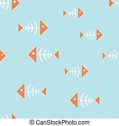 Seamless background with fish bone