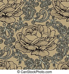 Seamless background with floral ornament and roses. Vector illus