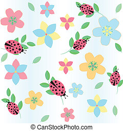 background with flowers and ladybird