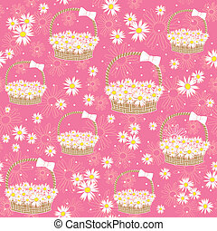 seamless background with Flowers basket