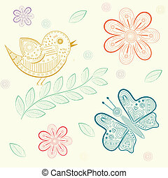 background with flowers, birds  and butterflies