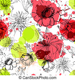 Seamless background with flowers