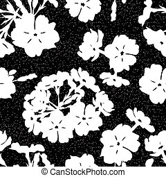 Seamless background with flowers of beautiful hand-drawn silhouette phlox