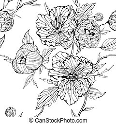 Vector black and white seamless background with gentle peony flowers