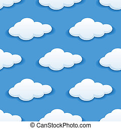 Seamless background with fluffy clouds - Seamless background...