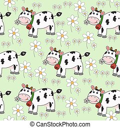Seamless background with funny cow