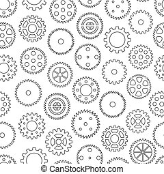 Seamless background with gear wheels, vector illustration