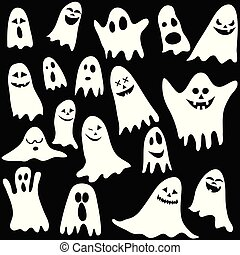 Seamless background with ghosts - vector illustration