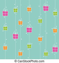 Seamless Background with gift boxes and stars