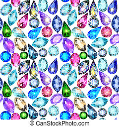 seamless background with glittering precious stones -...